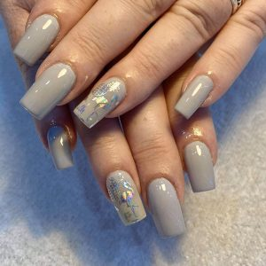 square acrylic nail extensions with sparkling design hollywood nails and spa eastbourne