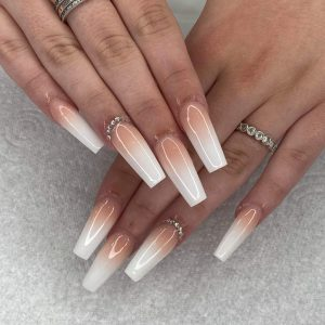 coffin shape white ombre nail extensions